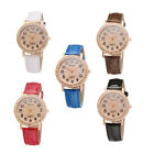 Bling Fashion Women Leather Stainless Steel Analog Diamond Dial Wrist Watches