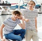 Men's Stripes sunny short-sleeved T-shirt round neck classic stripes