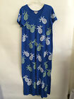 "M.Mac's ""Pineapple"" U-Neck Ankle Length Dress in Royal w White & Lime- SMALL"