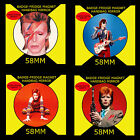 DAVID BOWIE ON ZIGGY STARDUST. BOWIE  -SET OF 4 - 58 mm BADGE-FRIDGE MAGNET