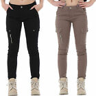 New Womens Ladies Slim Skinny Fitted Combat Pants Cargo Trousers Jeans Short Leg