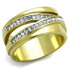 Women's Stainless Steel 316 Gold Plated Pave Crystal Anniversary Fashion Ring