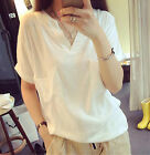 Fashion Women's Simple V Collar Casual Cotton Short Sleeves T Shirts Tops Blouse