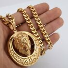 "18-36"" MENS Boys Gold Stainless Steel Chain Necklace Lion King Circle Pendant"