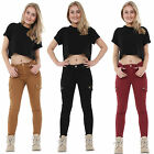 Ladies Womens Slim Stretchy Combat Pants Skinny Cargo Trousers Cropped Short Leg