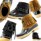 Women Snow Boots Ankle Fringe Style Cute Duck Padded Mud Rubber RainBoots Shoes