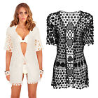 Pistachio Womens Crochet Cardigan Ladies New Floral Short Sleeved Knitted Shawl