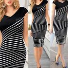 Sexy Women Bandage Bodycon Sleeveless Slim Evening Cocktail Party Striped Dress
