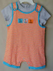 OFFSPRING 100% Cotton Multi Color Sail Stripe SHORTALL SET w/Tee BOY SIZES NWT