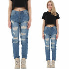 New Ladies Womens Blue Faded Ripped Distressed Frayed Boyfriend Jeans Short Leg