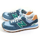 New Balance ML574PIA D Blue & Green & White & Gum Lifestyle Suede Casual NB