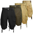 Soulstar Mens Cargo Shorts Cotton Military Combat Multi Pocket Knee Length Pants