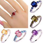 Oval Cut Topaz Gemstone Silver Plated Ring Size 6 7 8 9 10 11 12 Fashion Womens