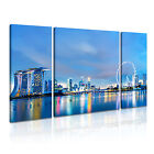 SINGAPORE Skyline At Night Canvas Framed Print ~ 3 Panels