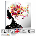 ABSTRACT WOMAN COLOURFUL FLOWERS FLORAL CANVAS WALL ART FRAMED PRINTS PICTURES