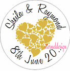 Personalised Wedding Day Circle Stickers Seals High Gloss Love Heart  Design