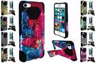 For Apple Iphone 5 5S SE Design Hybrid Dual Layer T Kickstand Cover Case