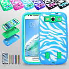 Heavy Duty Defender Case with Built-in Screen Full body Cover for Galaxy SIII S3