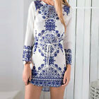 Summer Sexy Women Long Sleeve Party Evening Cocktail Casual Mini Dress White