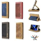 For Samsung S7/S7 Edge Shockproof Canvas Wallet Card Photo Slot Stand Case Cover