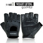 Weight Lifting Gloves Leather Gym Fitness Fingerless Body Building Gloves Black