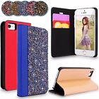 For iPhone 5 5S SE Luxury Rhinestones Crystal Diamond Wallet Stand Case Cover