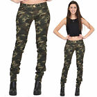 Womens Army Military Dark Green Camouflage Slim Fitted Stretch Jeans Trousers