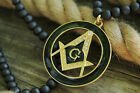 """NEW FREEMASON ROUND PENDANT &6mm/30"""" WOODEN BEAD CHAIN HIP HOP NECKLACE - RC1870"""