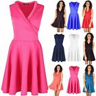 Womens Ladies Tuxedo Collar Wrap Over V Plunge Flared Franki Mini Skater Dress