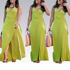 Women Solid Color Sexy Deep V Neck Sleeveless Slit Ball Gown Cocktail Long Dress