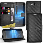 Carbon Fiber Wallet Case Stand Cover For Microsoft Lumia 550 / 950XL / 650
