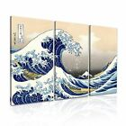 The Great Wave off Kanagawa Hokusai Japanese Modern Art Canvas 3 Panels