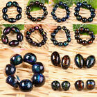Dichroic Lampwork Glass Ball Rice Loose Spacer Beads Jewelry Findings