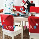 Christmas Party Dinner Table Decoration Decor Santa Clause Red Hat Chair Covers