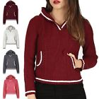 Womens Cricket Jumper Ladies Cropped Top Hood Hooded Stripes Long Sleeve Knitted