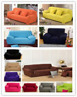 Pure Colour Full Cover Anti Slip Lounge Couch Stretch Sofa Cover 1-2-3-4 Seater