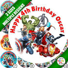 Personalised Birthday Cake Avengers Round Photo/Picture/Image Edible Topper b