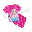 2Pcs Baby Kids Toddler Top Pants Shorts Sleepwear Pajama Pyjams Frozen elsa 2016
