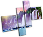 Waterfall River Forest Lake Canvas Artwork Picture Print Wall Hanging Photo