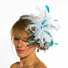 White Fascinator hat with teal highlight/choose any colour satin/feathers