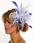 White Fascinator hat with royal blue highlight/choose any colour satin/feathers