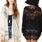 UK8-26 Boho Lace Floral Crochet Chiffon Cardigan Coat Jacket Kimono Shirt Kaftan