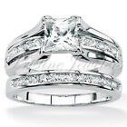 925 Sterling Silver Women's Wedding Band Princess CZ Bridal Engagement Ring Set