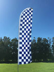Blue & White Check Swooper Or Flat Top Flag (Only)