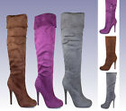 michy-11 New Forever Over the Knee Zipper 4.5 inch High Heel Women Winter Boots