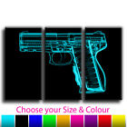 Abstract Hand Gun Treble Canvas Wall Art Picture Print 6 Gallery Grade