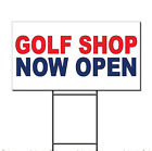 Golf Shop Now Open Red Blue Corrugated Plastic Yard Sign /Free Stakes