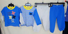 LITTLE ME 100% Cotton 4 pc Day Care BLUE SKULL Set INFANT BOY SIZES NWT