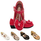 GIRLS KIDS  WEDDING BRIDESMAID DIAMANTE PARTY SHOES SIZE 7-3