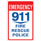 Emergency 911 Fire Rescue Police Aluminum METAL Sign $38.99 USD on eBay